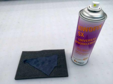Test Schaumstoff mit Sprühkleber impreginieren