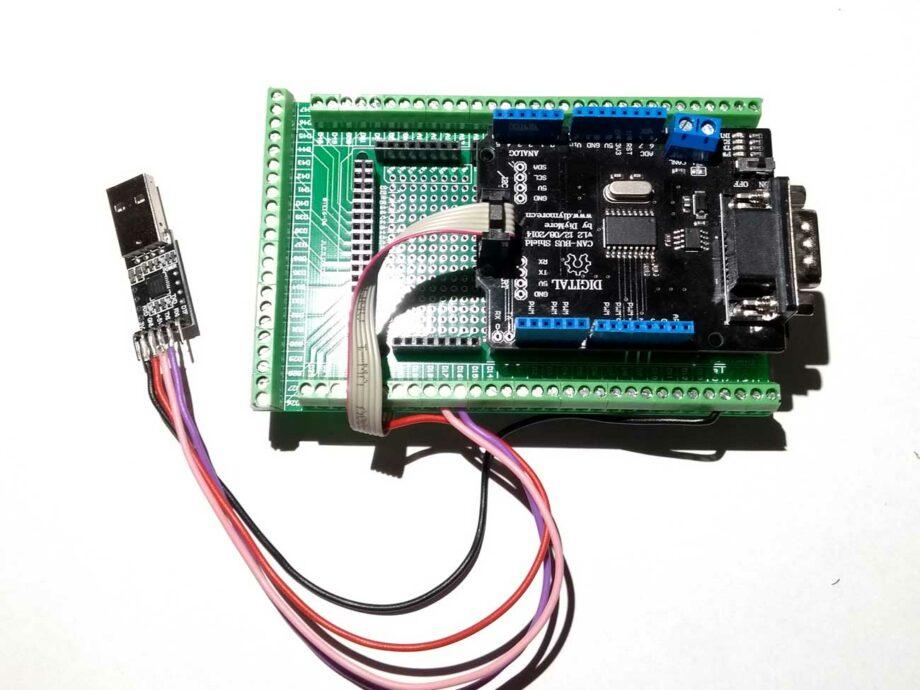 Arduino Mega mit CAN Shield, Screw Shield und zusätzlichem USB Anschluss