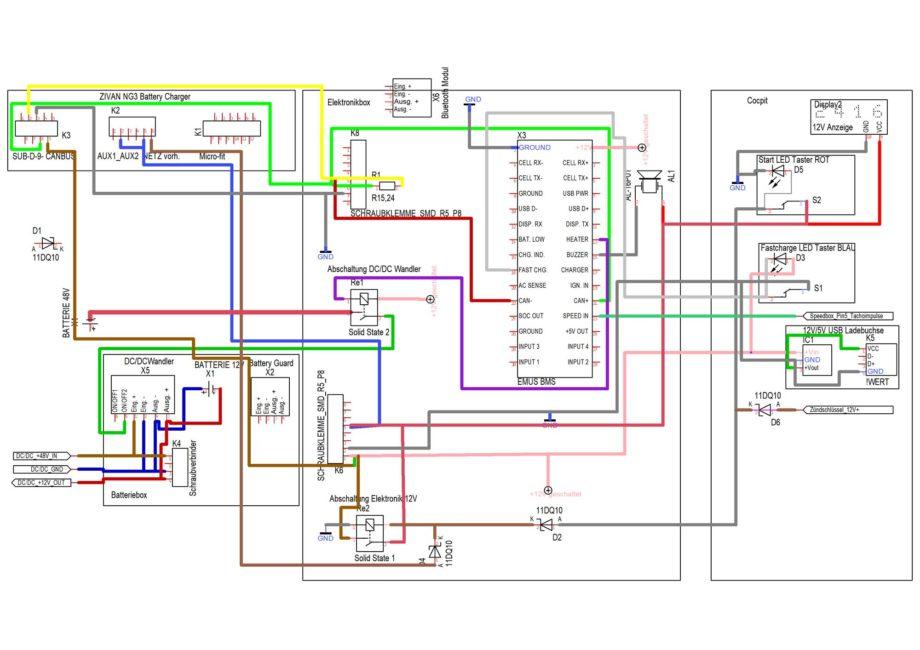 KEWET vorläufiger Stromlaufplan hinzugefügter Komponenten