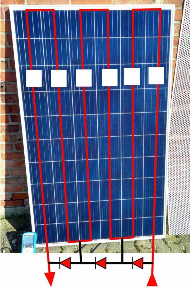 Bypassdioden im Solarpanel