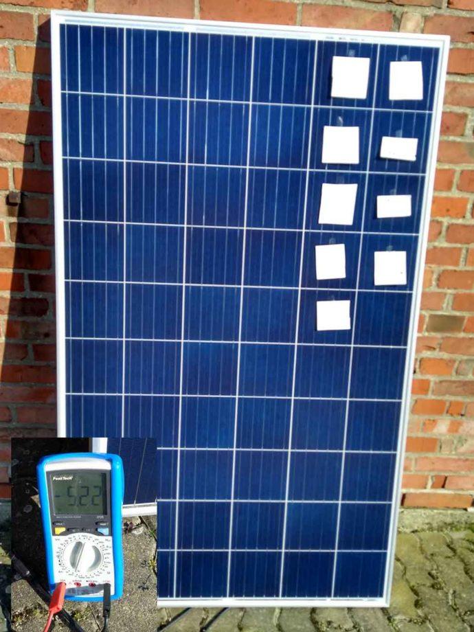 Solarmodul Verschattung Fleckentest