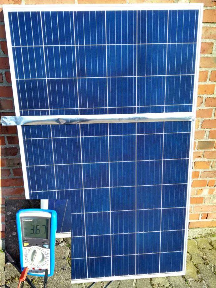Solarmodul Verschattung Querstreifentest
