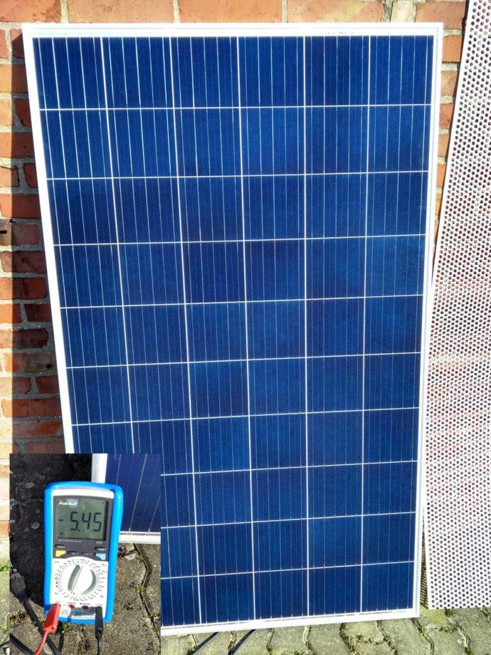 Solarpanel Testsetup Verschattung