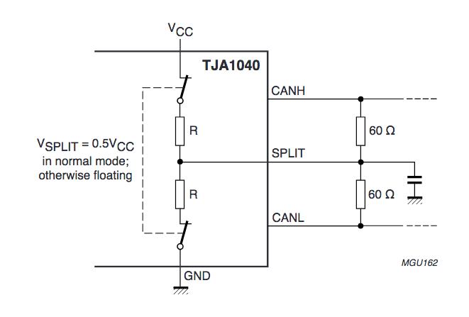 Transceiver TJA 1040 mit Splitverbindung